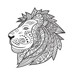 Hand drawn lion isolated on white background vector