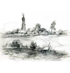 Hand-drawn rural landscape sketch vector