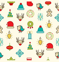 happy christmas symbols pattern vector image