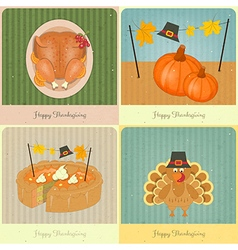 Happy Thanksgiving retro cards vector image