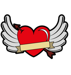 Heart love with arrow and wings vector