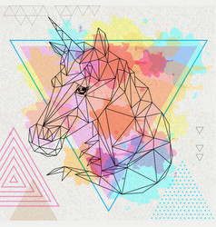 hipster polygonal fantasy animal unicorn vector image