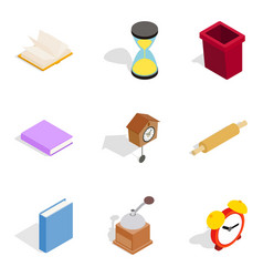 Home cosiness icons set isometric style vector
