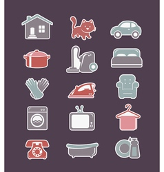 House cleaning and household appliances flat icons vector image