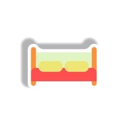 In paper sticker style bed vector