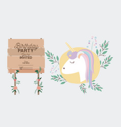 invited birthday party card with unicorn vector image
