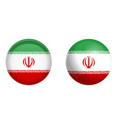 iran persia flag under 3d dome button and on vector image