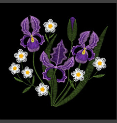 iris flowers with chamomile embroidery vector image