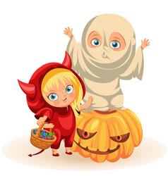 Joyful kids in halloween dresses flat poster vector