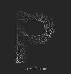 letter p of branch or cracked alphabet p vector image
