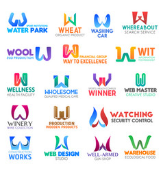 letter w corporate identity business icons vector image