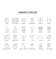 Line icons set library and online library pack vector