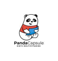 Logo panda capsule simple mascot style vector
