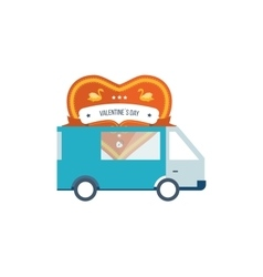 Machine delivery postcard heart Valentine s Day vector