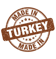 made in turkey brown grunge round stamp vector image