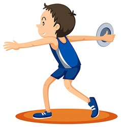 Man athlete throwing discus vector image