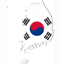 map south korea with national flag vector image