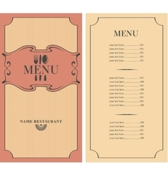 Menu with price vector