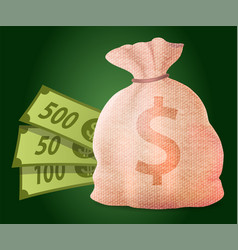 money bag with dollars earn in casino vector image