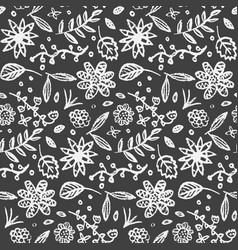 monochrome pattern with cute doodle flowers vector image