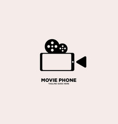 Movie phone logo template vector