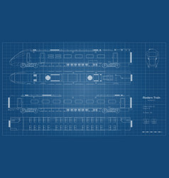 Outline blueprint train side top front vector