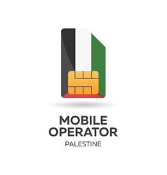 Palestine mobile operator sim card with flag vector