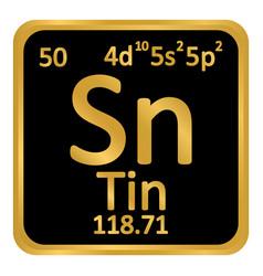 Periodic table element tin icon vector