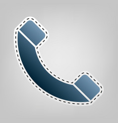 phone sign blue icon with vector image
