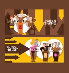 political channel set banners vector image