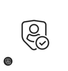 privacy icon line art outline shield vector image