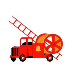 red fire truck with ladder emergency vehicle vector image