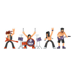 Rock music or rockers band performing on stage vector