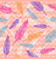 Seamless colorful feathers pattern vector