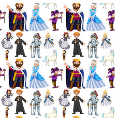 Seamless design with fairytale characters vector