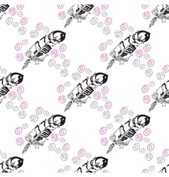 Seamless pattern with feathers and beads on white vector image