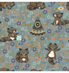 seamless pattern with raccoons in cartoon vector image