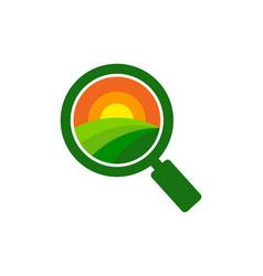 Search farm logo icon design vector