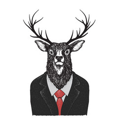 serious deer dressed in jacket vector image