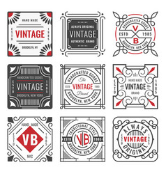 set of nine stylish line insignias decorative vector image