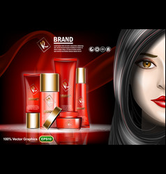 set of skin care cream ads with nice brunette vector image