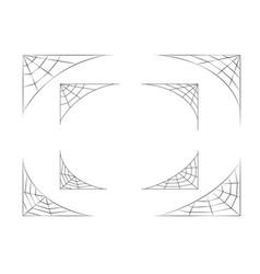 Set spider web corner on white art vector
