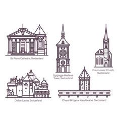 Set switzerland architecture buildings in line vector