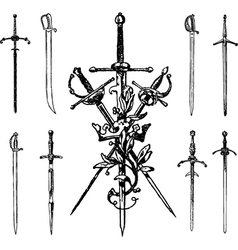 Set vintage swords vector