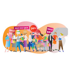 shopping mall sale crowd vector image