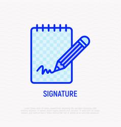 Signature thin line icon vector