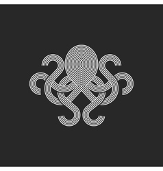 Silhouette octopus logo monogram mockup seafood vector