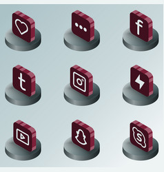 Social network color isometric icons vector