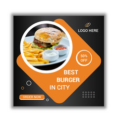 Square food banner for promotional business vector