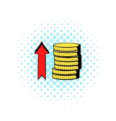 Stacks of coins with red arrow icon comics style vector